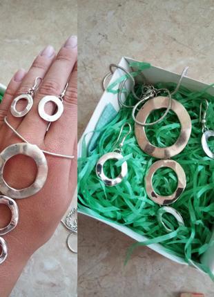 ✨набір прикрас сережки+ підвіска з ланцюжком/ набор серьги колье