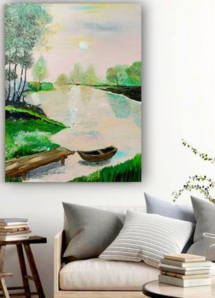 Картина маслом «Рассвет на природе», 60х50