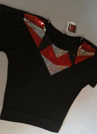 Диско футболка блуза в пайетках