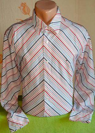 Шикарная белая рубашка в разноцветную полоску tommy hilfiger 8...