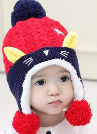 Шапка детская холодная осень зима шапка дитяча осінь зима