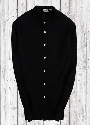 Стреичевая рубашка с воротником стойка