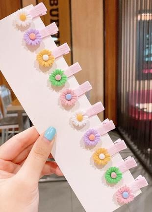 Набор детских заколок. парные разноцветные цветочки. 10 шт.