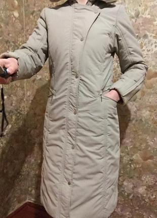 Зимний тёплый длинный пуховик