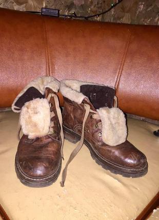 Зимние ботиночки натуральная кожа, натуральный мех, 26 см