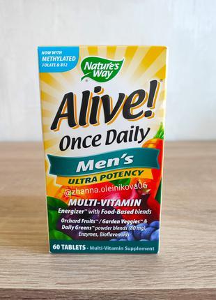Nature's Way, Alive! Раз в день, мультивитамины для мужчин, 60 тб