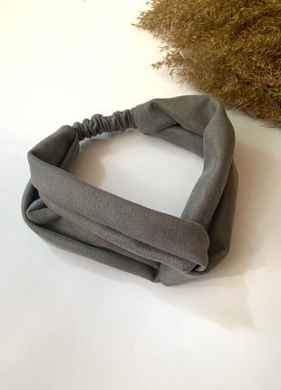 Женская повязка на волосы, замшевая чалма на голову серая