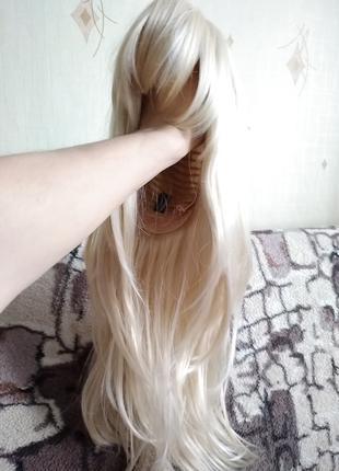 Парик блонд ровный длинный с челкой