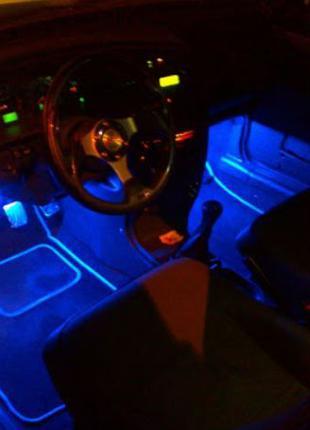 Cветодиодная RGB лента для подсветки салона автомобиля с пульт...