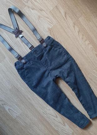 Класные штаны с подтяжками 12-18мес