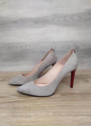 Замшевые туфли на каблуке - натуральная замша model 2260