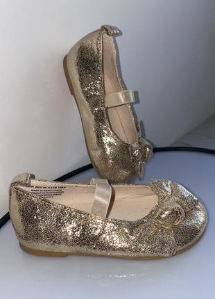 Туфли,туфельки золотистые 20/21 13см h&m
