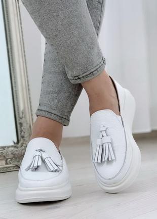 Нереально крутые белые кожаные туфли на низком ходу