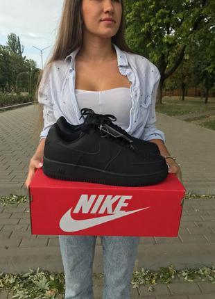 Nike air force 1 black чёрные женские кроссовки наложенный пла...