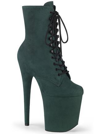 Тёмно-зелёные Замшевые Ботинки-Стрипы, Тройки купить, стрипобувь