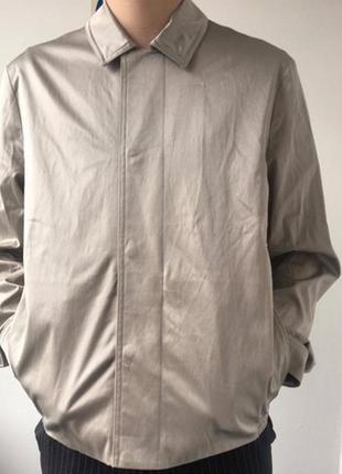 Серебристо-серая куртка рубашка р. l на кнопках cos