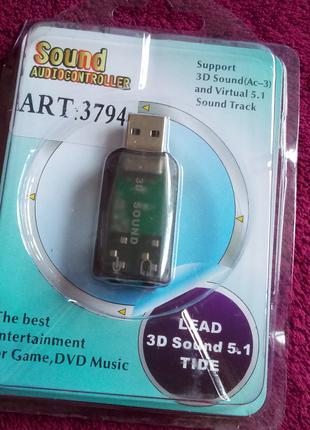 Audio sound card USB Внешняя Звуковая Карта Аудио Адаптер 60 грн
