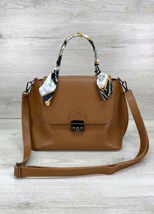 Стильная женская сумка клатч с платком