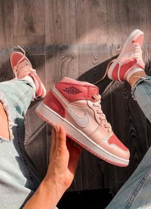 Nike air jordan 1 retro pink шикарные женские кожаные кроссовки 😍