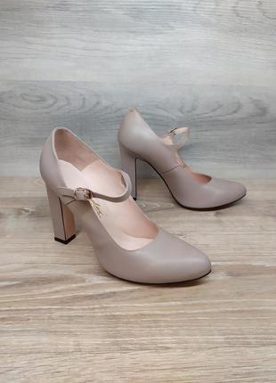 Кожаные туфли на каблуке - натуральная кожа model 2262