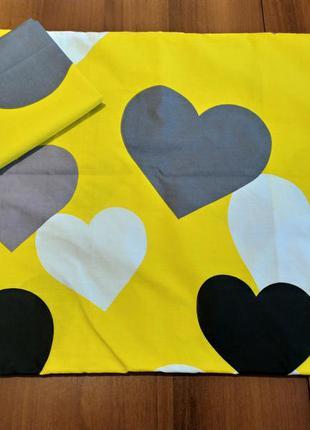 Наволочки - сердечки на желтом, быстрая отправка, все размеры