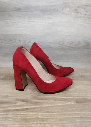 Замшевые туфли на каблуке - натуральная замша model 2264