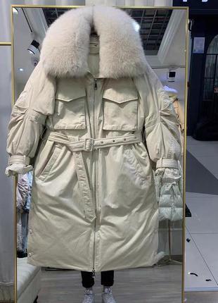 Пальто пуховик с натуральным мехом