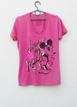 Трикотажная футболка с принтом с надписью с мики маусом