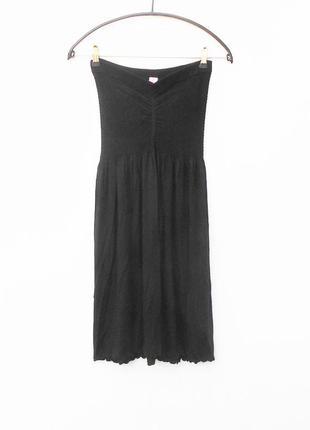 Черное летнее трикотажное платье бюстье