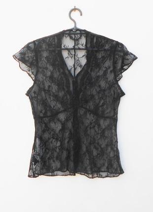 Черная кружевная летняя блузка с бисером и пайетками