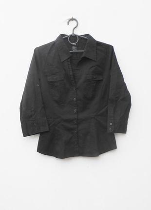 Черная классическая приталенная рубашка с воротником с рукавом...