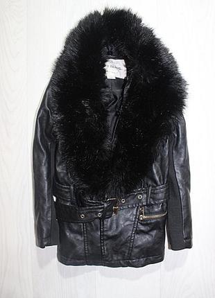Куртка кожанка с мехом 4 года