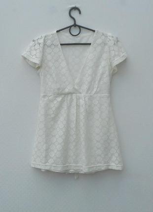 Летняя кружевная нарядная трикотажная блузка с коротким рукавом
