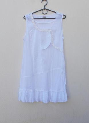 Белое летнее легкое хлопковое платье туника пляжная