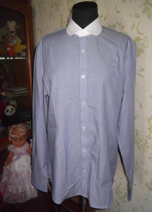 Рубашка белый воротник  limehaus slim fit 16