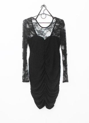 Черное летнее нарядное платье с длинным рукавом с кружевом с о...