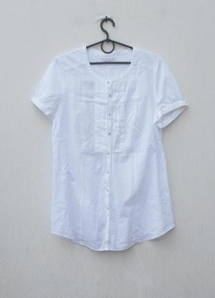 Белая летняя свободная хлопковая блузка с коротким рукавом