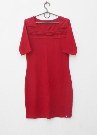 Новое трикотажное бордовое облегающее платье с коротким рукаво...