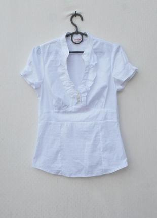 Белая легкая блузка с коротким рукавом  orsay