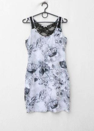 Летнее облегающее платье с кружевной вставкой be beau