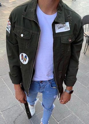 Крутая мужская джинсовка хаки