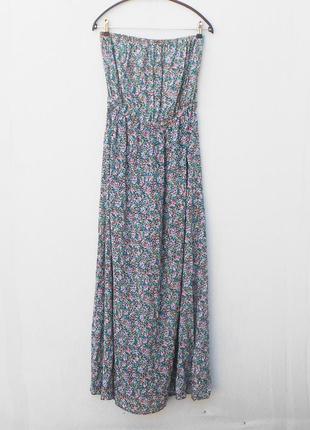 Легкое летнее платье бюстье в пол в цветочный принт из вискозы
