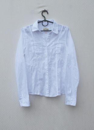 Белая легкая хлопковая приталенная  рубашка с воротником с дли...