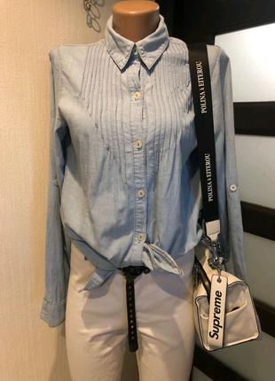 Тонкая джинсовая рубашка кофточка блузка