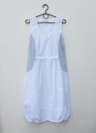 Белое летнее легкое платье миди