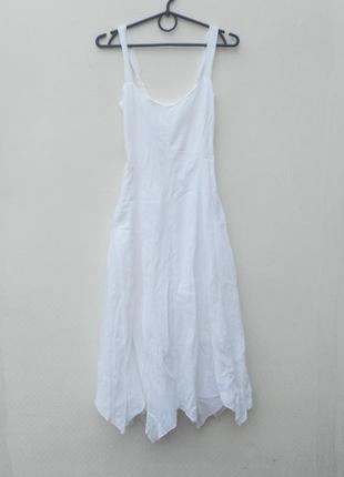 Белое легкое летнее сексуальное платье сарафан из хлопка
