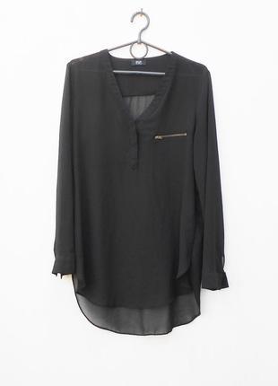 Черная летняя удлиненная  шифоновая блузка с длинным рукавом