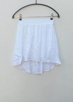 Белая летняя пышная юбка из вискозы