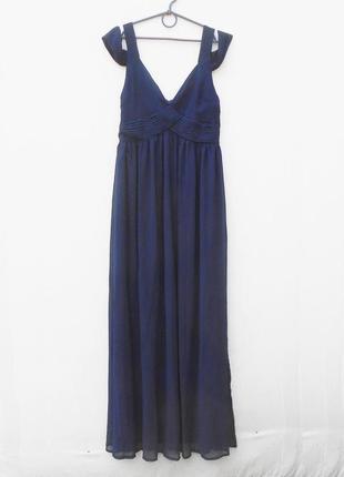 Синее летнее нарядное вечернее платье в пол
