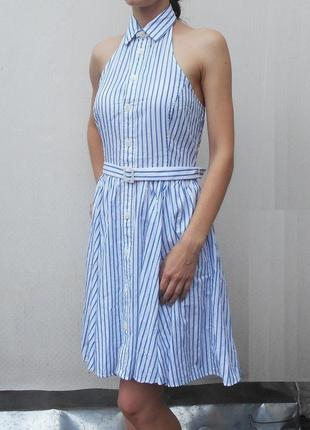 Летнее модное  хлопковое платье рубашка в полоску с воротником...